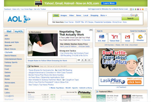 The newly redesigned front page of AOL.com on 9/10/2008, complete with links to mail other than AOL's