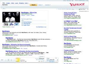 Rhapsody search results in Yahoo!