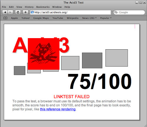 The Acid3 test running on a non-altered installation of Safari 3.1.2 for Windows.