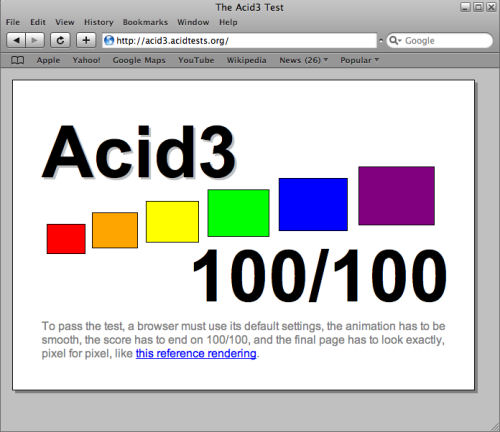 The Acid3 test on Safari after installing the September 26, 2008 daily build of WebKit.