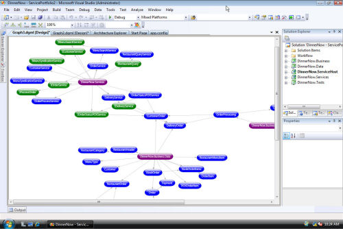 A screenshot of the code architecture module in an early beta of Visual Studio 2010. [Courtesy Microsoft]
