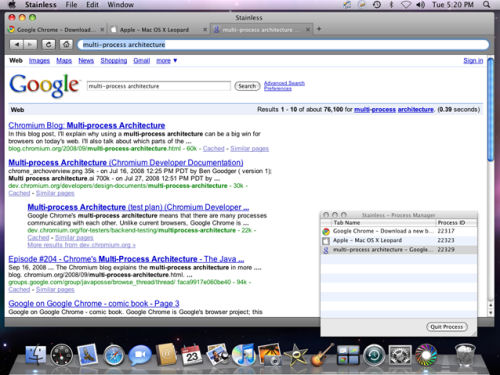 Screenshot of Stainless 0.1 browser for Mac OS X Leopard