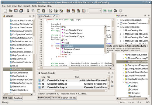 The MonoDevelop IDE that comes with Mono 2.0, the cross-platform .NET framework