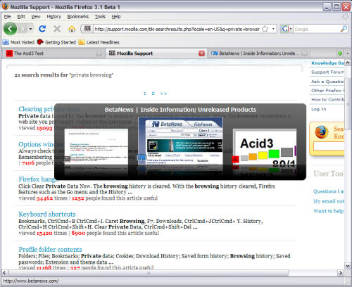 The new Ctrl Tab feature in Firefox 3.1 offers a preview of other tabs' content.