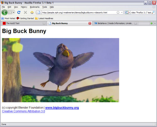 Firefox 3.1 Beta 1 natively plays 'Big Buck Bunny' from the Peach Open Video Project.