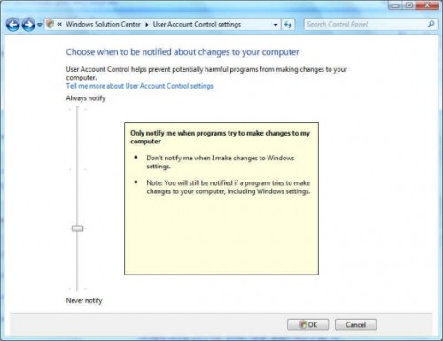 how to turn off user account control windows 7