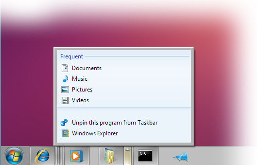 How the Windows 7 taskbar might have looked, from an early build distributed at PDC 2008.