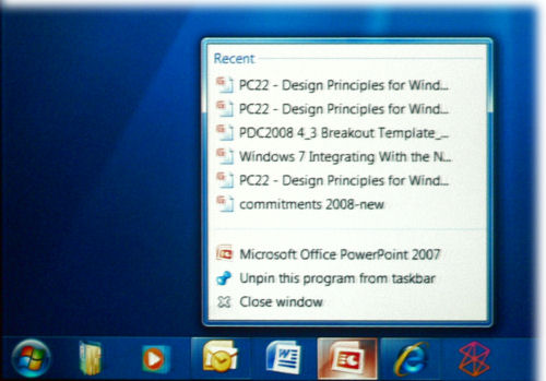 An improved build of the new taskbar in Windows 7, from Steven Moreau's presentation at PDC 2008.