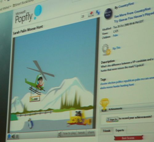 A Microsoft Popfly game called 'Sarah Palin Moose Hunt,' shown running on Firefox for Linux via Moonlight.