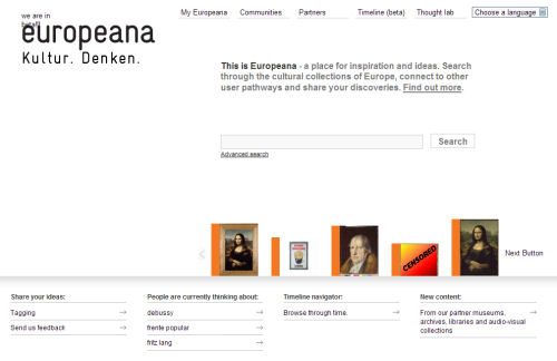 One example front page from the opening day of Europeana.eu...and we can't show it all.