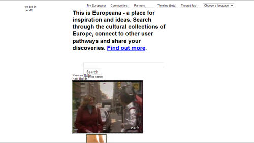 Another example Europeana.eu front page leads the viewer to New York-based porn, quite literally.