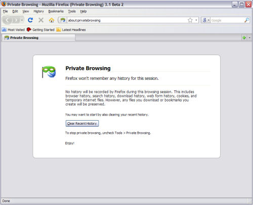 How private browsing mode looks in Firefox 3.1 Beta 2