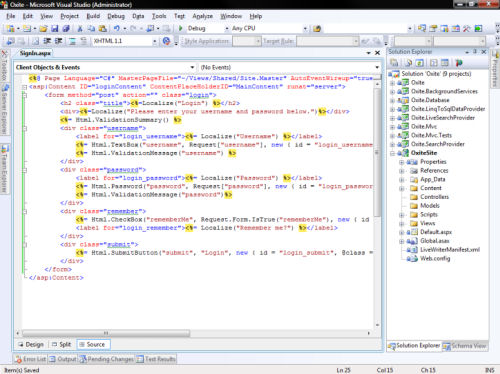 Oxite development in Visual Web Developer Express