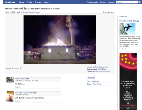 Image of burning mosque on Facebook