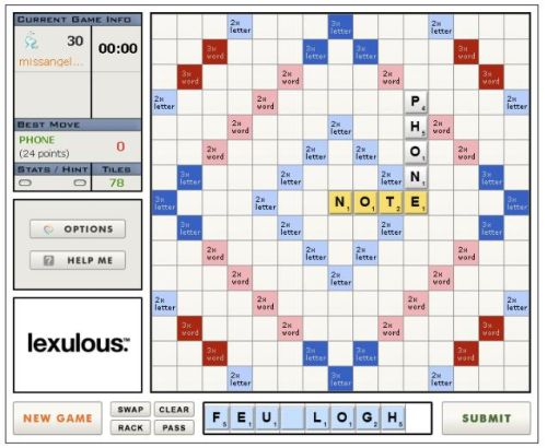 The Scrabulous game, as seen (often) on Facebook.