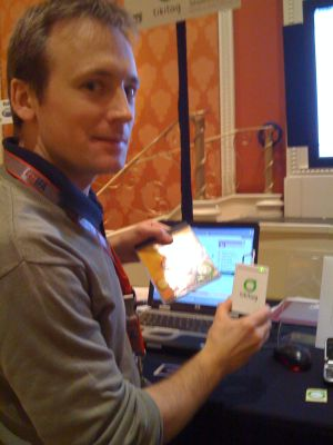 A demonstration of Tikitag barcoding at CES 2009 Showstoppers.