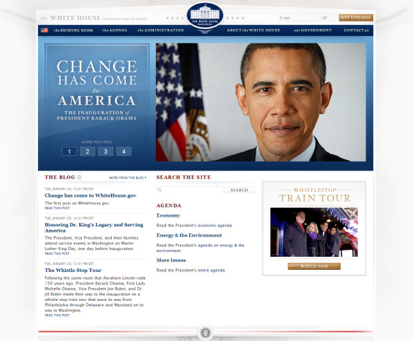 The front page of Whitehouse.gov in its first day under new management