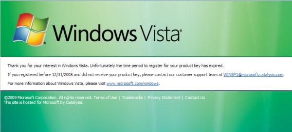 The message that greets recipients of free Vista copies as of January 16, 2009