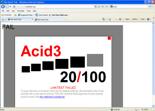 There should be a lot more color in this picture of the Acid3 test on IE8 RC2...Of course, there should be a higher number than 20, too.