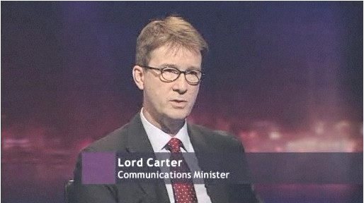 UK Communications Minister Lord Carter appears on the BBC's Newsnight, January 29, 2009.