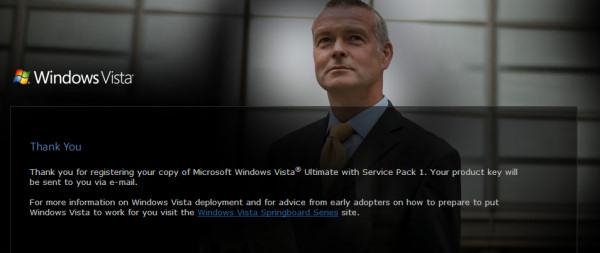 Success!  Vista promotional recipients can now register their copies online