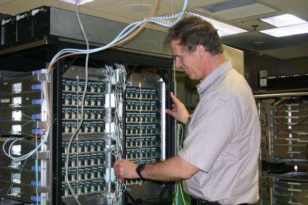 A look inside IBM's Blue Gene P supercomputer, under construction