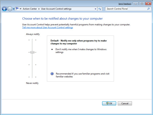 The User Account Control (UAC) control panel, as seen in Windows 7 Build 7000.