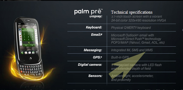 Sprint's first official specifications for its Palm Pre include a listing for MMS messaging.