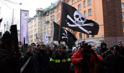 Pirate Party outside the trial against Pirate Bay
