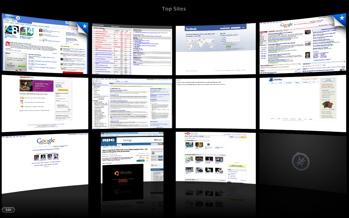 Safari 4 beta top sites home screen