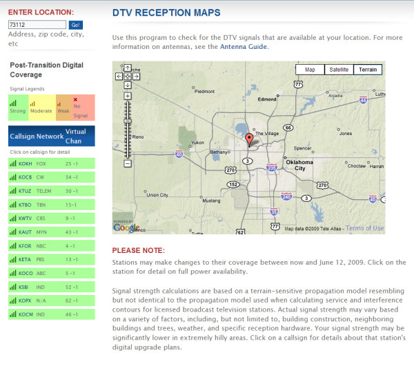 An example of the FCC's DTV reception map service, showing receptivity in the area of Oklahoma City.