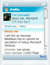 Windows Live Mobile screen