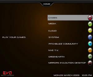 EVO console home screen