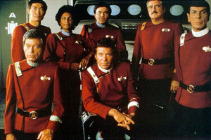 The crew of the Enterprise in Star Trek II: The Wrath of Khan