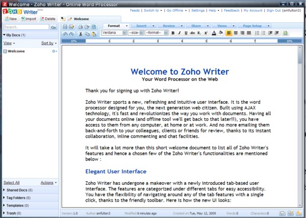 Zoho Writer running as a stand-alone app in Prism 1.0 beta.