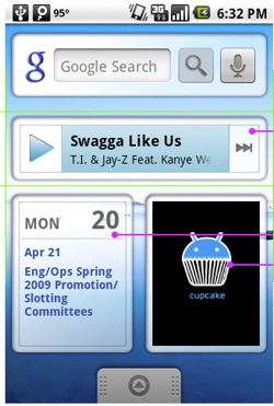 Music Player, Calendar, Photo Frame and Google Search bar widgets