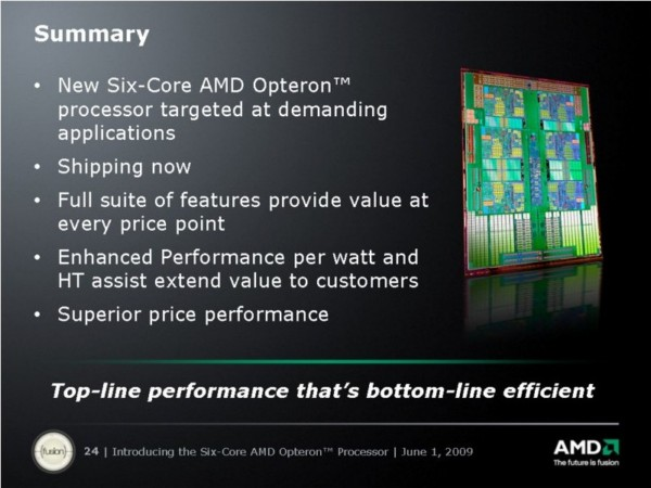 AMD's value proposition for six-core 'Istanbul'-era Opteron servers.