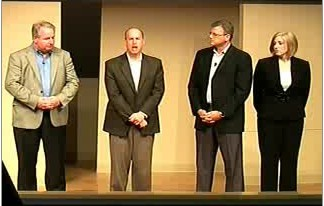 AMD's executives field questions from online reporters during a Round Rock press conference unveiling six-core Opteron servers, June 1, 2009.
