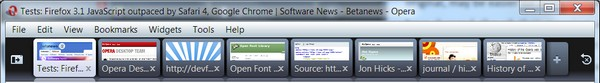 Thumbnails reveal themselves when you pull down the tab bar in the new Opera 10 beta.