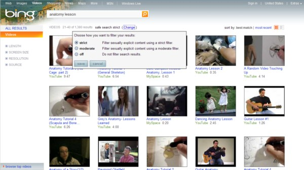 Bing retrieves some videos you might not want your child to watch, even though they're not 'sexually explicit.'