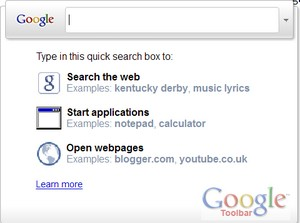 An alternate Start menu is one of the new, and perhaps unrequested, features of Google Toolbar 6 for IE8.