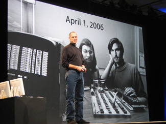 Apple CEO Steve Jobs introduces his company's name change to 'Apple Inc.' in an April 1, 2006 keynote address.