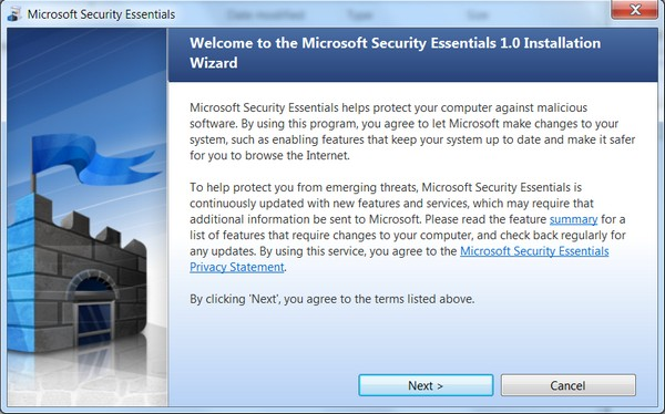 Microsoft Security Essentials installation
