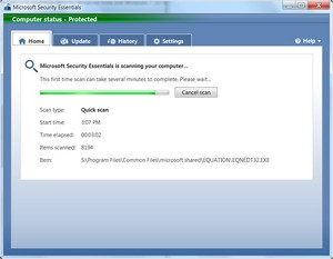 Microsoft Security Essentials in its initial scan for malware