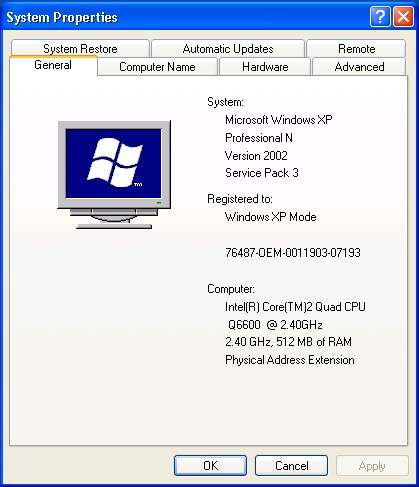 Lower profile XP Mode (N) for Windows 7 omits Media Player 9