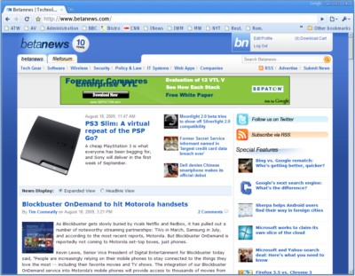 A first look at Google Chrome 4, with bookmarks freshly synched from Firefox.