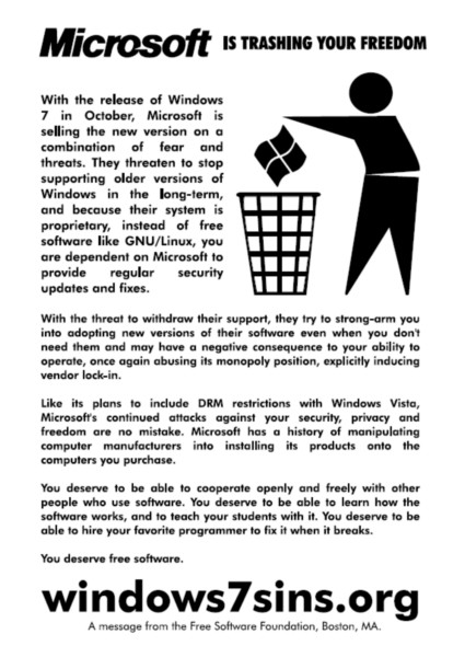 The 'Windows 7 Sins' flyer being distributed by the Free Software Foundation.