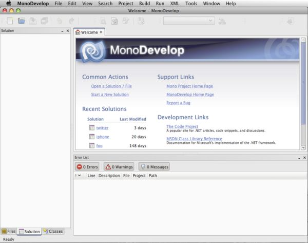 The MonoDevelop IDE for Mac, being used for MonoTouch development for iPhone