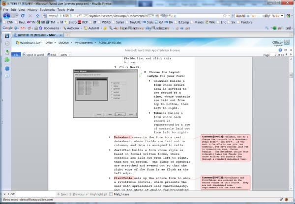 Word Web App Technical Preview renders a complex document on-screen, but doesn't let you edit (or print) it yet.