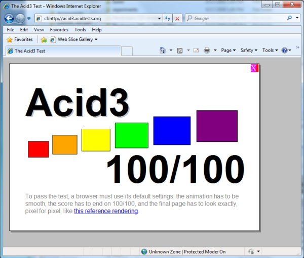 Did Internet Explorer 8 just pass the Acid3 test?  No, it's the Chrome Frame renderer giving IE8 a leg up.